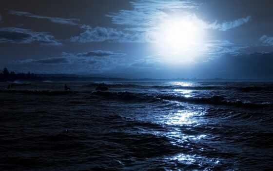 море, ночь, луна, waves, ночью, swim, отражение, rays, сёрфинг,