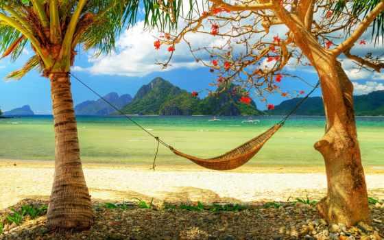 пальмы, пляж, берег, гамак, песок, острава, угол, горизонт, рай, лодки, горы,