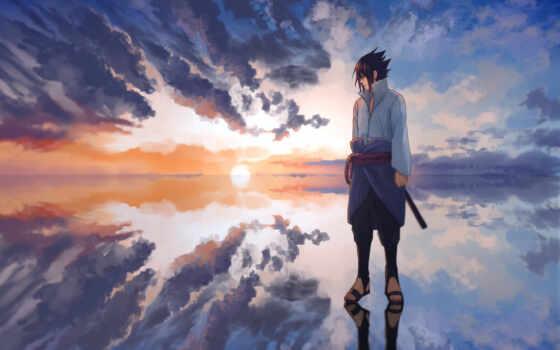 sasuke, naruto, fond, anime, природа, небо, нь, wat, се, команда