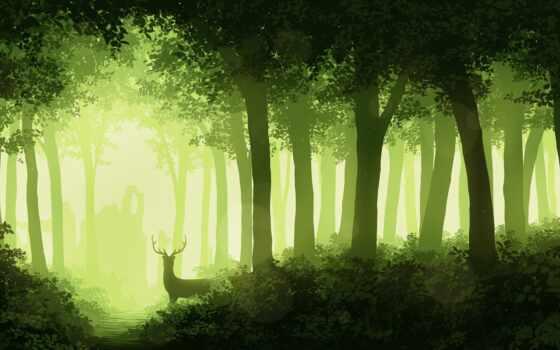 лес, лань, туман, музыка, дерево, relax, кисточка, инструмент, art, краска