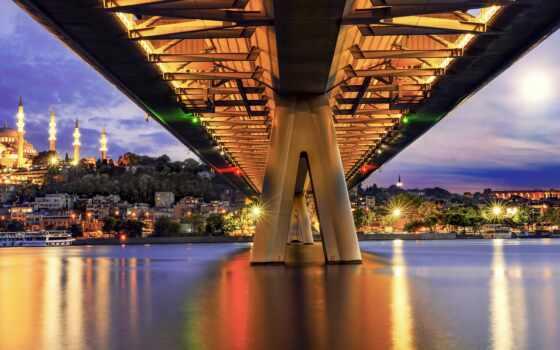 metro, мост, istanbul, город, ночь, turkey, tarde, casa