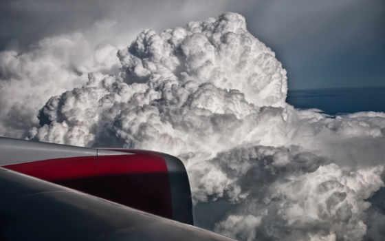 турбина, полет, крыло, облака, clouds, before, storm,