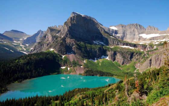 горы, ozero, пейзаж