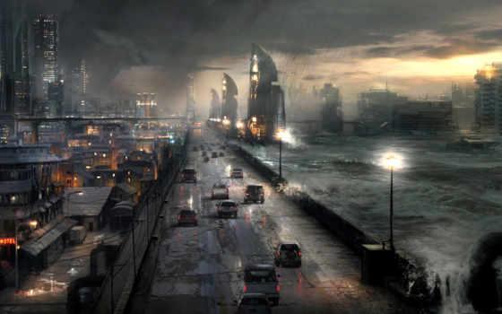 апокалипсис, город, буря