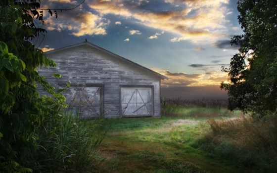 barn, поле, structure, зелёный, небо, дерево, сеновал,