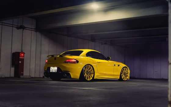 bmw, тюнинг, диски, парковка, желтая, серия,
