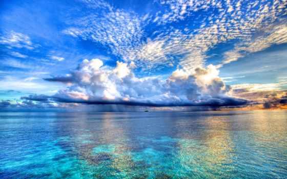 ocean, небо, горизонт, море, природа, корабли, distance, океана, oblaka,