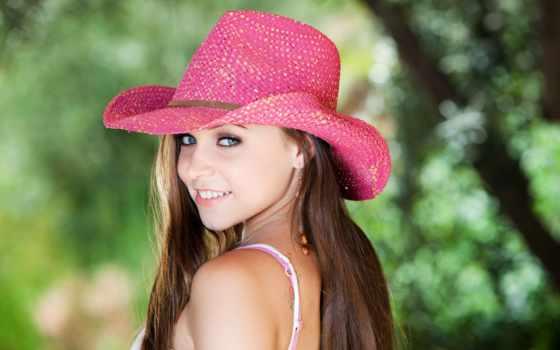девушка, шляпе, розовой, devushki, нужный, ковбойской,