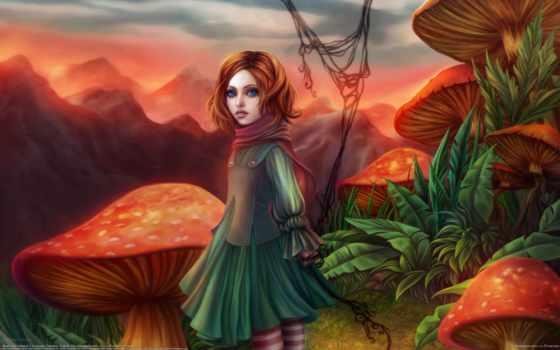 девушка, fantasy, грибы, мухоморы, gracjana, zielinska, грибов, горы, пазлы, among,