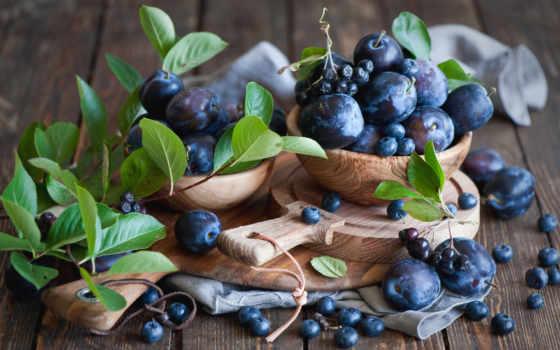 ягоды, черника, сливы, фрукты, которые,