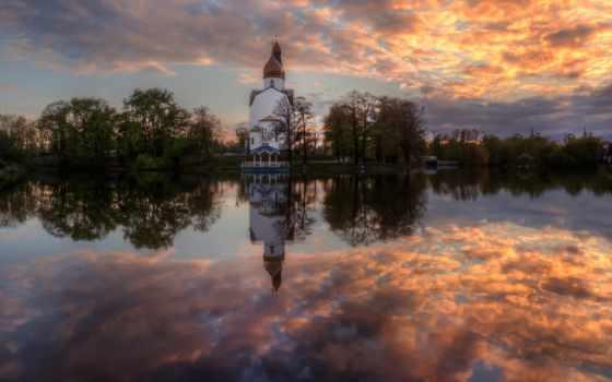 free, природа, kartinik, небо, отражение, облако, река