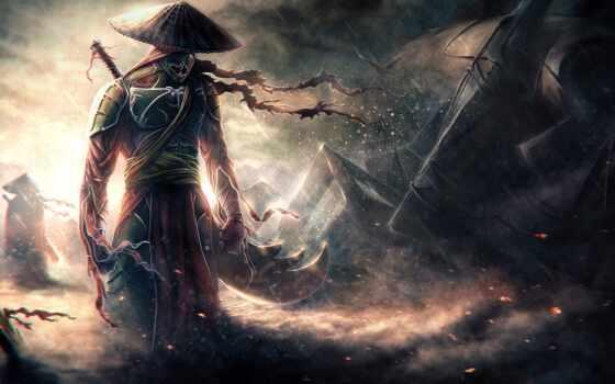 anim, самурай, воин, art, меч, mythology, darkness, шляпа, fantastic, digital, пост