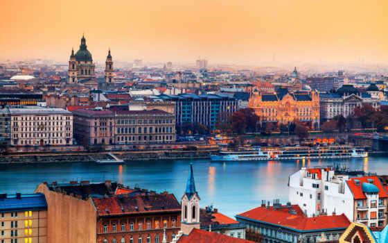 , река, братислава, здания, паром,
