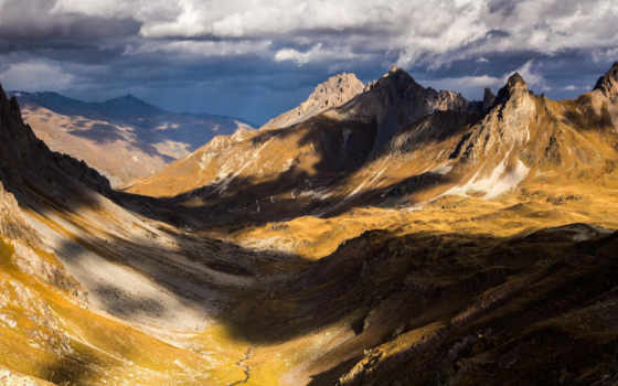 горы, тучи, природа, долина, небо, дорога,