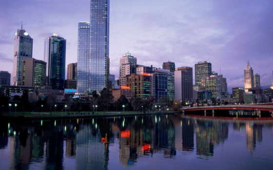 ,река,вечер,мельбурн,мост