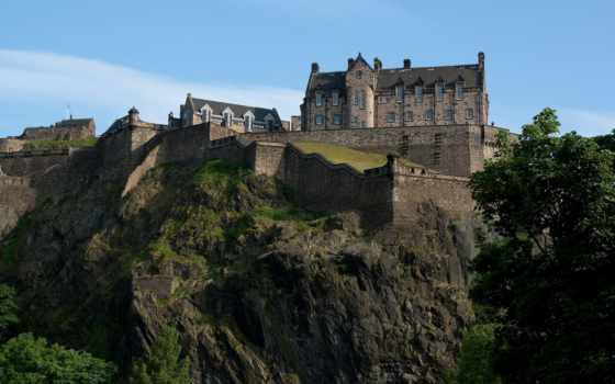 эдинбург, castle, fortress, эдинбурга, шотландии, скалы, ук, за,