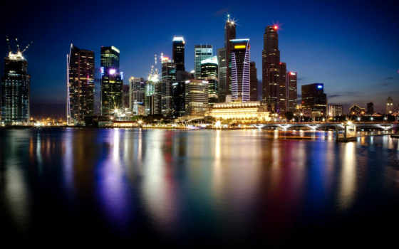 , мост, огни, небоскребы, ночь, города, singapore,