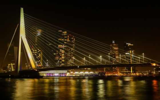 ,огни, город, мост, ночь