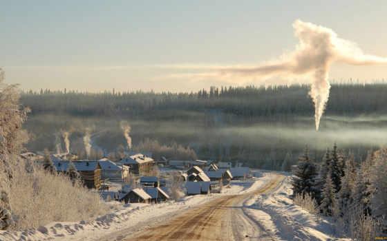 winter, сибирь, desktop, landscape, деревня, россия, siberian,