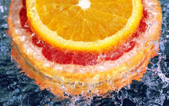 оранжевый, цитрус, долька, апельсинб капли,