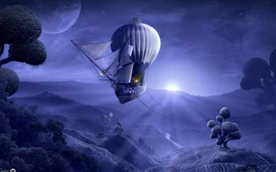 fantasy, корабль, balloon, air, hot, музыка, mix
