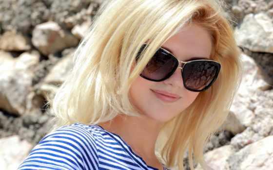 очки, girl, blonde