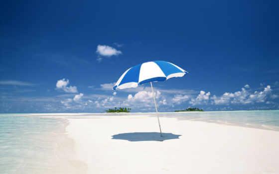 пляж, зонтик
