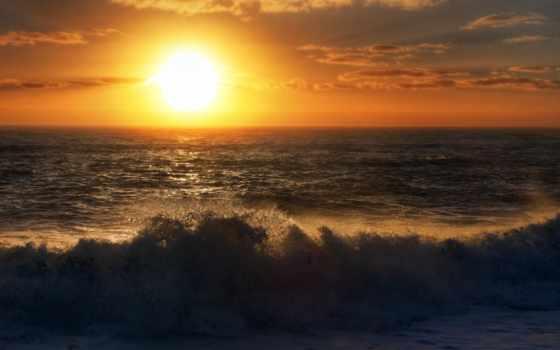море, закат, небо
