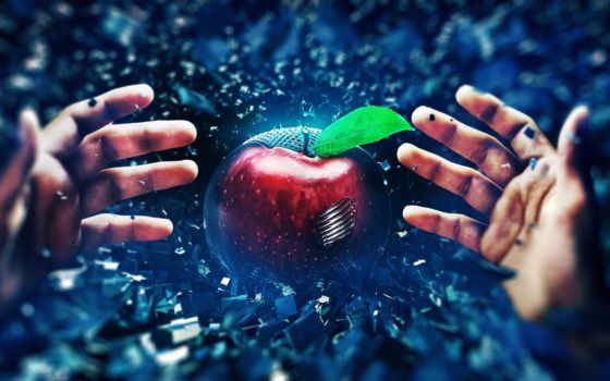 apple, reaching, desktop