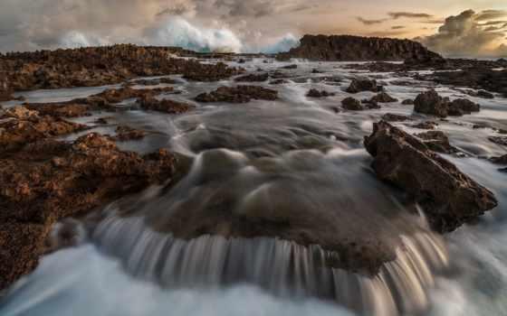 waves, ocean, волна, desktop, rocks,