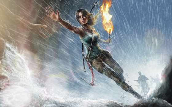 tomb, raider, лара, croft, крофт, девушка, art, факел, дождь, run,