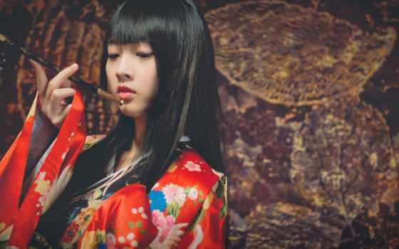 japanese, кимоно, девушка, women, black, smoking, desktop,