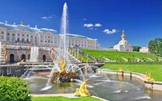 санкт, петербург, петергоф, дворец, fountain,