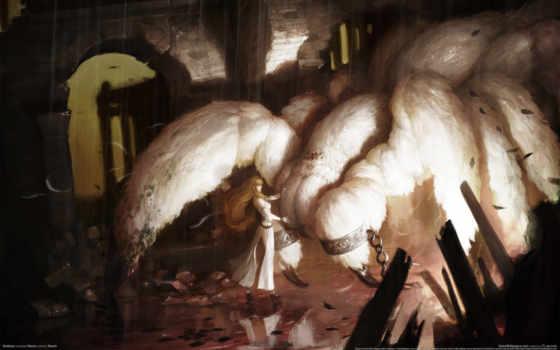 monster, девушка, цепи, паук, дождь, разруха, vindictus,