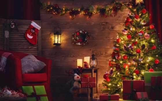 new, год, праздник, картинка, елка, комната, комнате, нарядная, огни, подарки, украшенной,