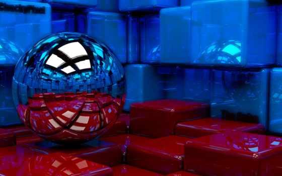 fondos, мяч, pantalla, red, отражение, fondo, кубики,