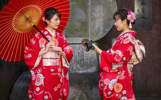 зонтик, женщина, девушка, red, japanese, два, кимоно, цвета, anime, смотреть