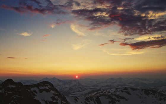 закат, горы, sun
