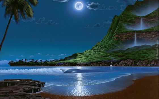 море, landscape, preview, ночь, усилитель, луна, схемы, вышивки,