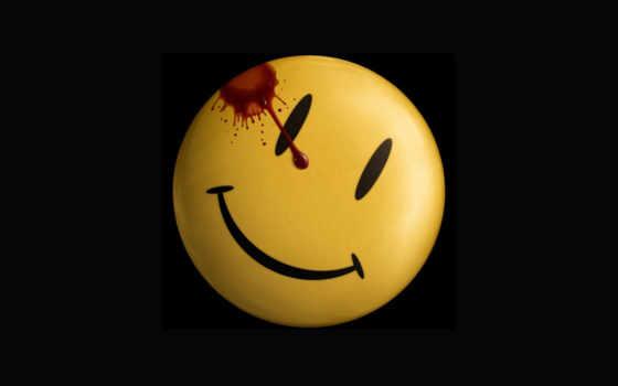 улыбка, смайл, watchmen, краткое, стоковая,