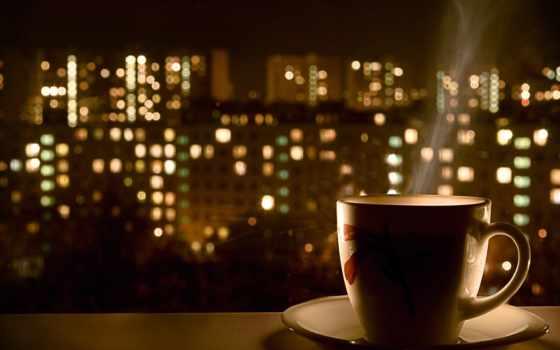 coffee, кружка, огни, hot, ночь, брызги, вкусно, капли,
