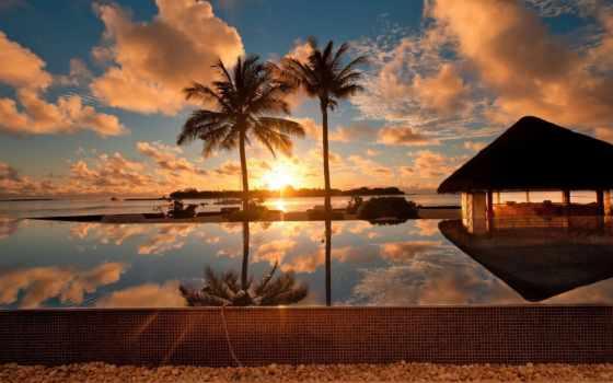 море, ocean, пальмы, домики, высоком, качестве, базе, фоны, нояб,