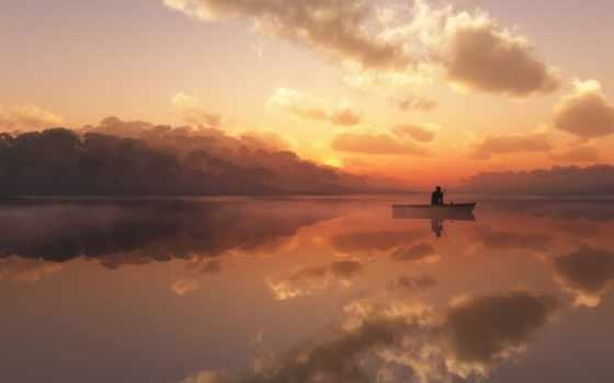 рыбак, одинокий, озеро, туман, лодка,