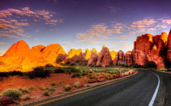 дорога, асфальт, поворот, свет, каньон, тени, пустыня, взгляд, красивые, utah,