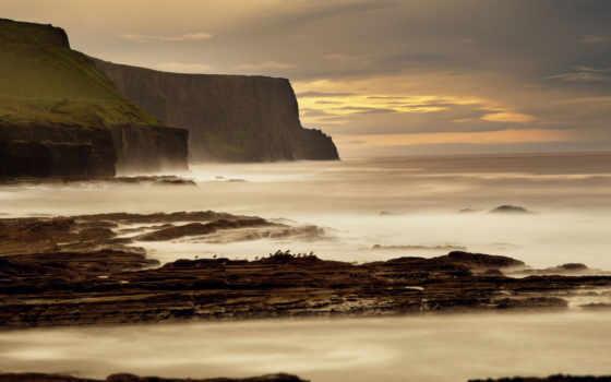 скалы, мохер, птицы, море, surf, waves, берег, claire, oldfield, ирландский,