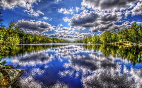 summer, река, небо, trees, дерево, осень,