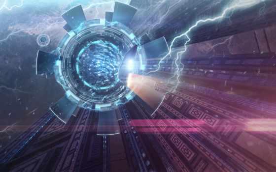 фантастика, портал, spaceship, свет, cosmos,