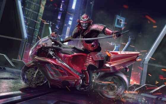 самурай, scus, воин, мото, доспех, pazlyi, splinter, fantasy, мотоцикл, fantastic, pattern