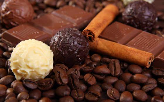 шоколад, кофе, белый, чёрный, корица, зерна, kartinka, сладости,