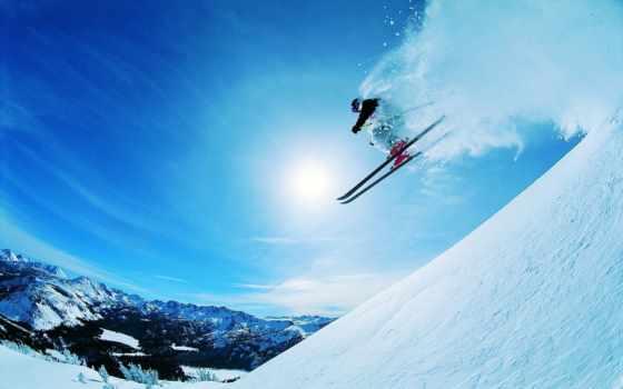 трамплина, прыжок, снег, вольтижировка, amazing, лыжник, лыжи, sun,